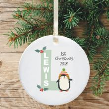 Ceramic Keepsake Baby Boy's Christmas Tree Decoration - Letter Penguin Design